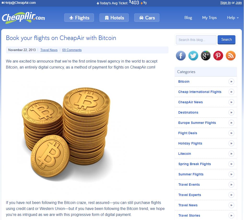 CheapAir fa parte dei Negozi Online che Accettano Bitcoin