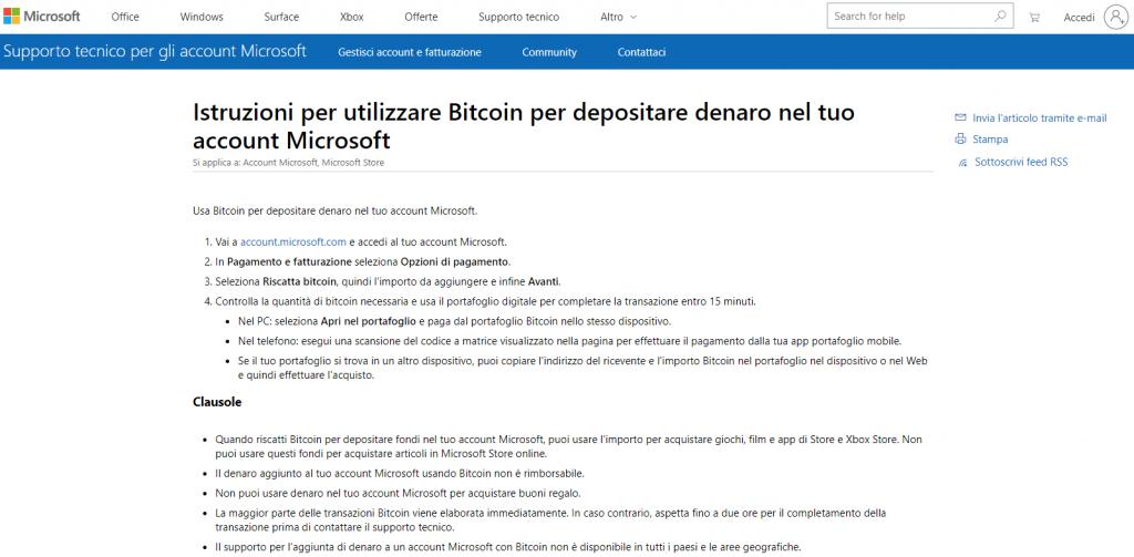 Microsoft fa parte dei Negozi Online che Accettano Bitcoin