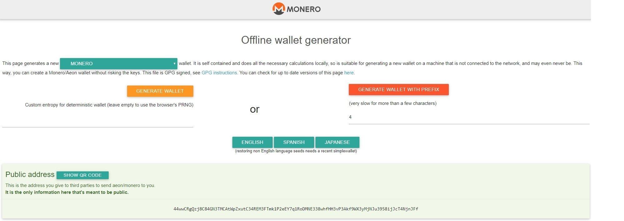 MoneroAddress is a Paper Wallet for Monero