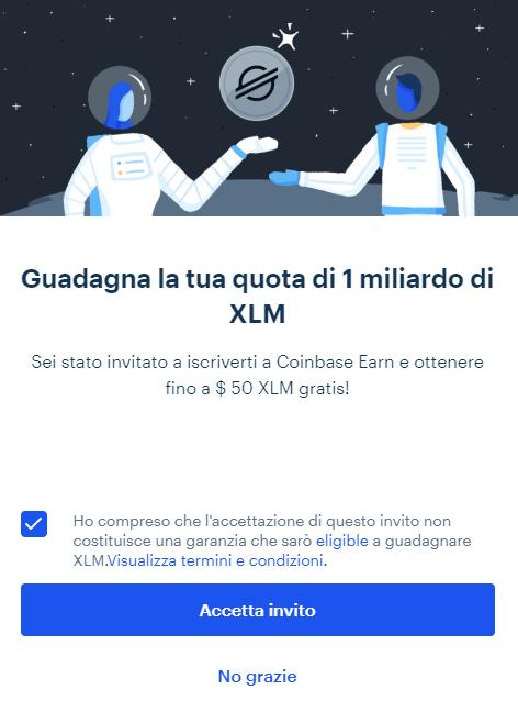 Coinbase Earn, Invito Stellar Lumens XLM