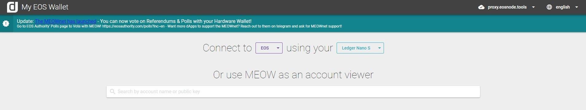 MyEOSWallet Web Wallet per EOS
